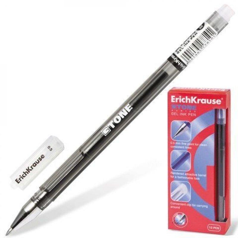 Ручка гелевая Erich Krause G-Tone 0,5мм рельефный держатель игольчатый наконечник черная