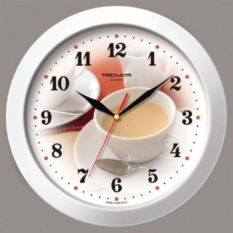 Часы настенные В-Тройка 11110187 круг белые чайная пара 290мм
