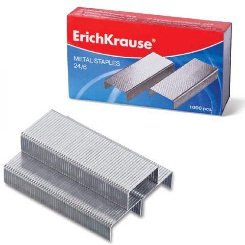 Скобы для степлера №24/6 Erich Krause 1000шт/уп никелированные