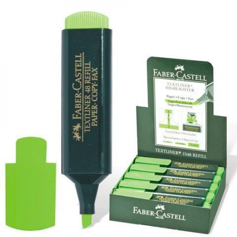 Текстмаркер Faber-Castell 1-5мм скошенный наконечник неоновый зелёный