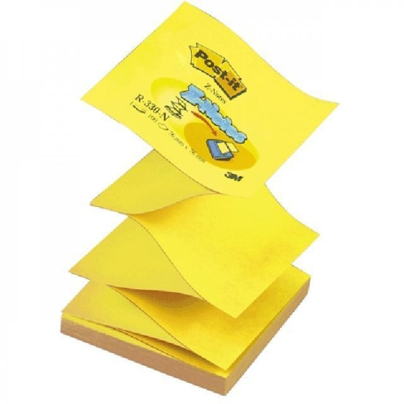 Блок для записей самоклеящийся 76х76мм Post-it 100л Z-сложение желтый неон
