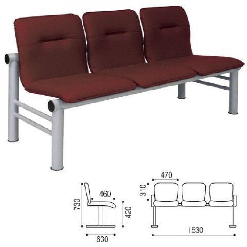 Кресло для посетителей Троя трехсекционное кожзам коричневое
