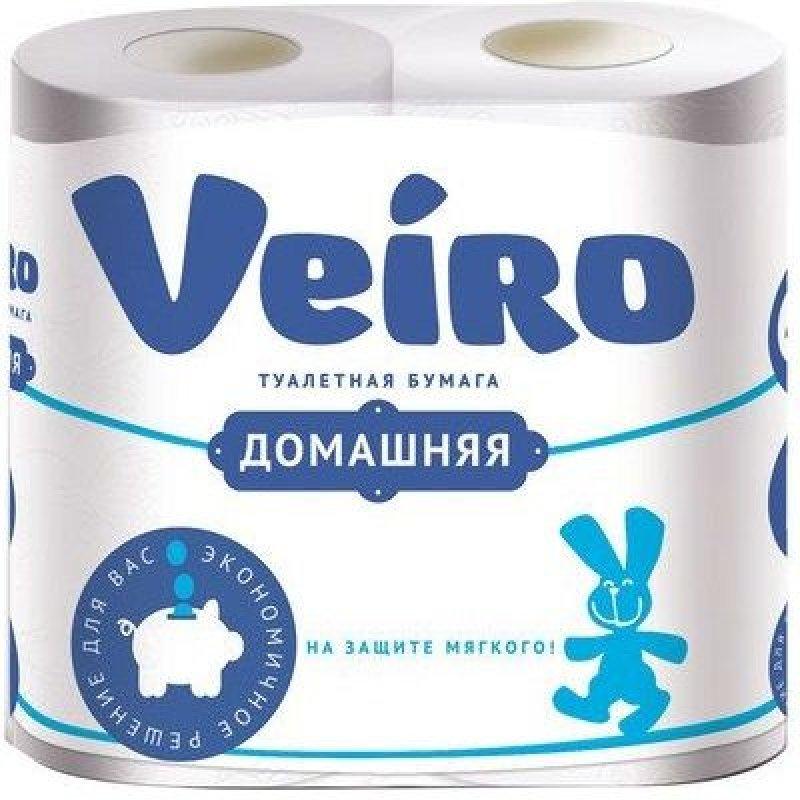 Бумага туалетная Veiro Домашняя 2-сл белая 4 шт/уп