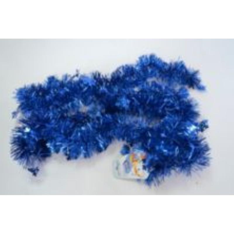 Мишура 2м одноцветная синяя 100мм