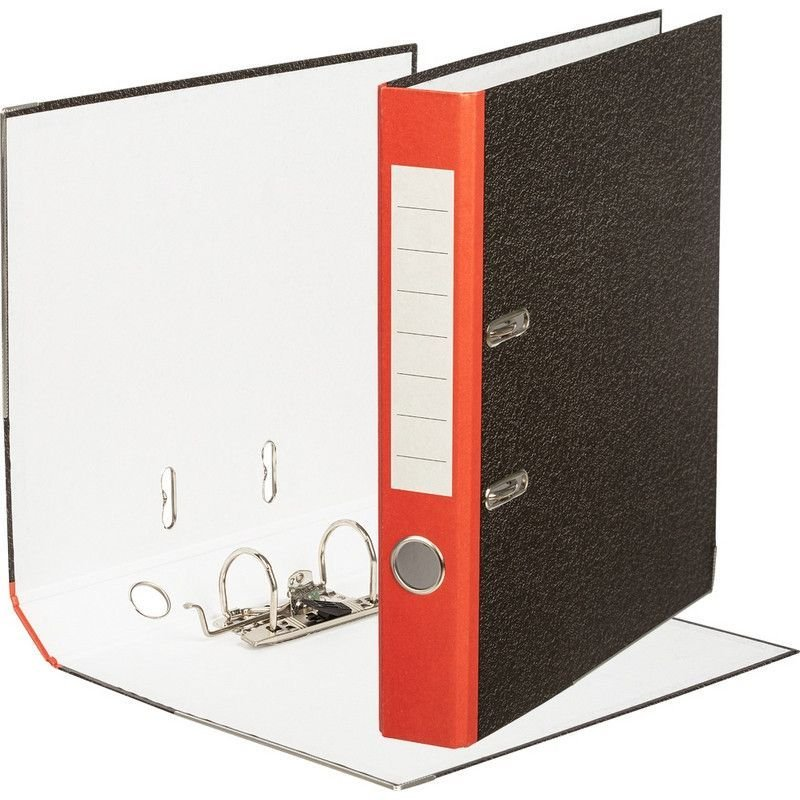 Папка-регистратор 50мм мрамор уголок красный корешок