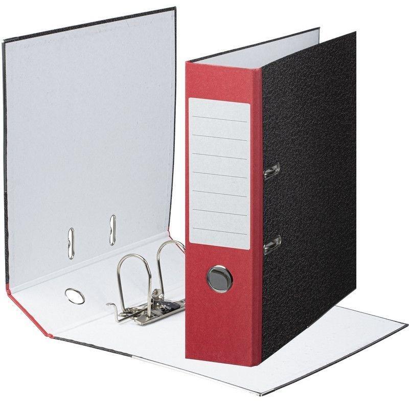 Папка-регистратор 80мм мрамор уголок красный корешок