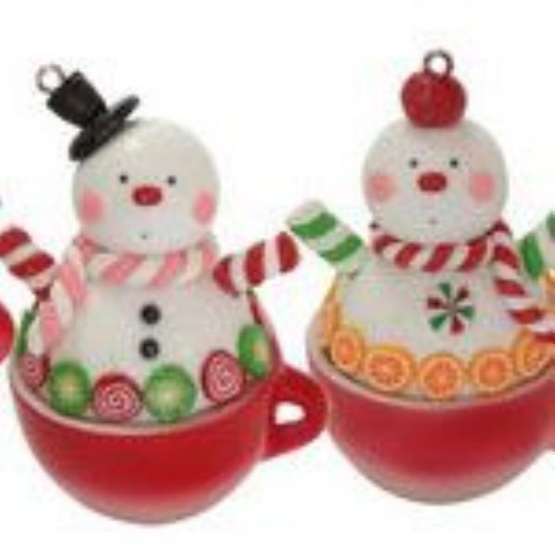 Украшение декоративное Снеговик в чашке 6см