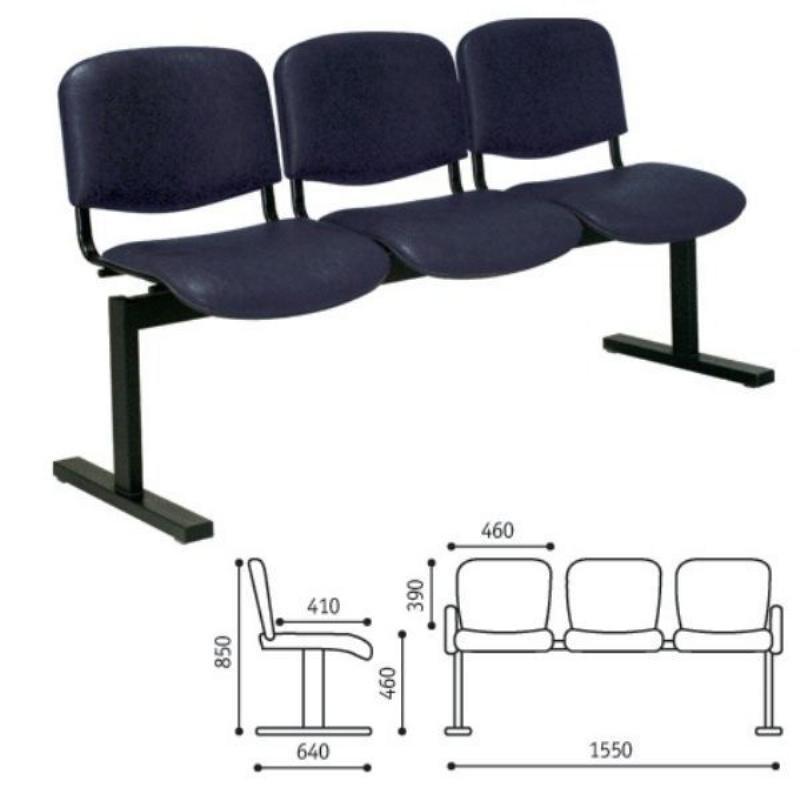 Кресло для посетителей Трио трехсекционное кожзам черный