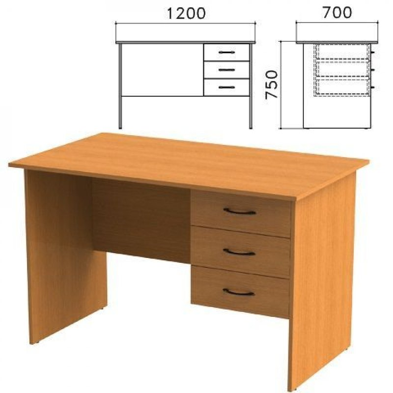 Стол письменный Фея 1200х700х750мм тумба 3 ящика орех
