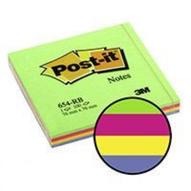 Блок для записей самоклеящийся 76х76мм Post-it 100л неон 4 цвета