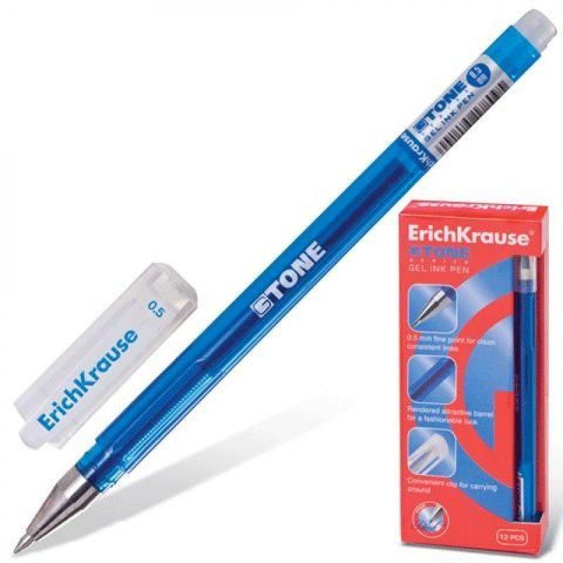 Ручка гелевая Erich Krause G-Tone 0,5мм рельефный держатель игольчатый наконечник синяя