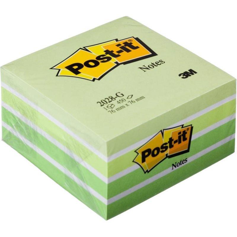 Блок для записей самоклеящийся 76х76мм Post-it 450л пастель 5 цветов сверху зеленый