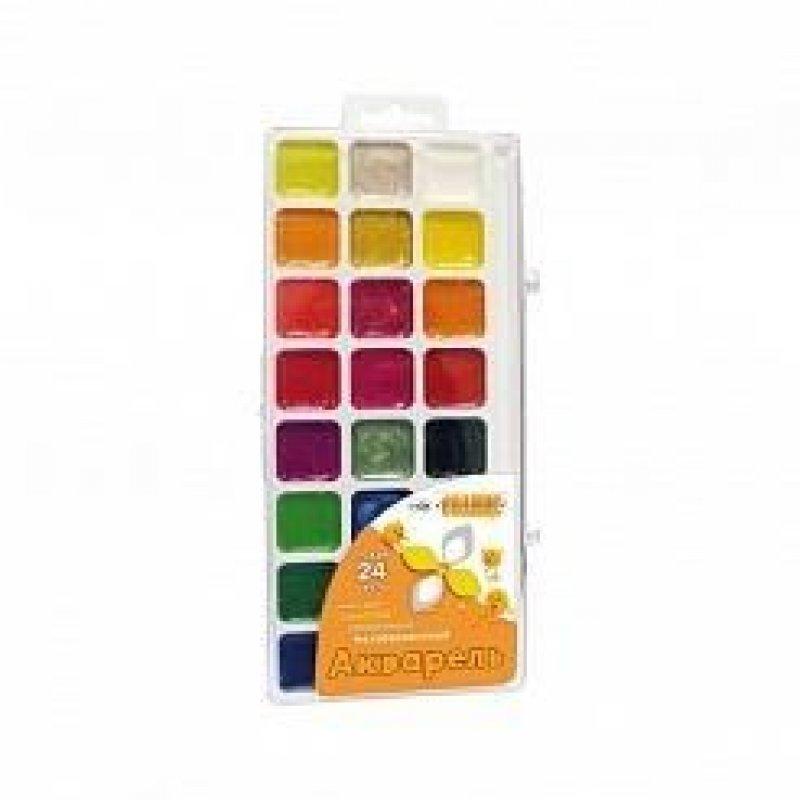 Краски акварельные 24цв Классика с кист пласт/уп
