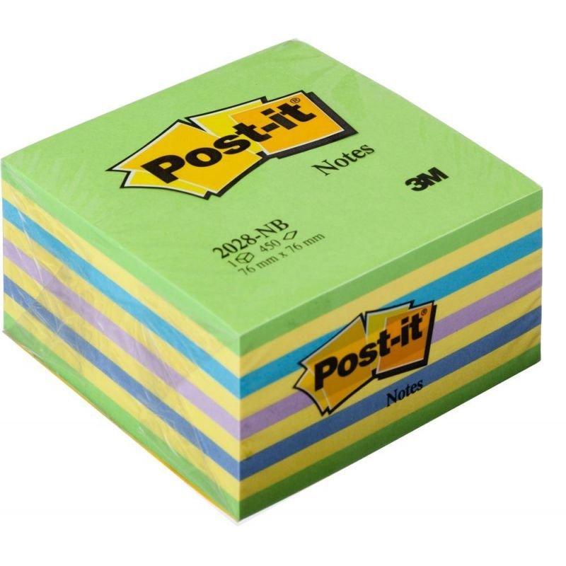 Блок для записей самоклеящийся 76х76мм Post-it 450л неон 5 цветов сверху зеленый