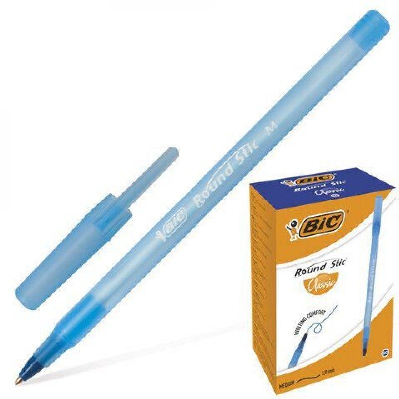 Ручка шариковая Bic Round Stic 1мм синий тонированный корпус синяя