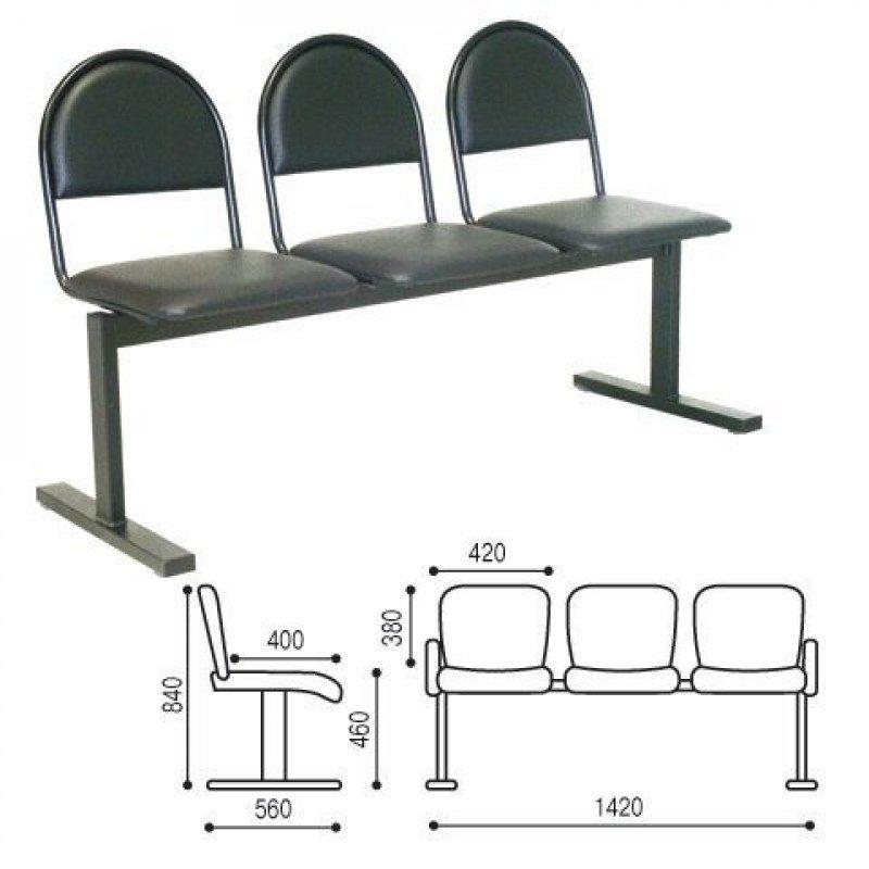 Кресло для посетителей Тройка трехсекционное кожзам черный