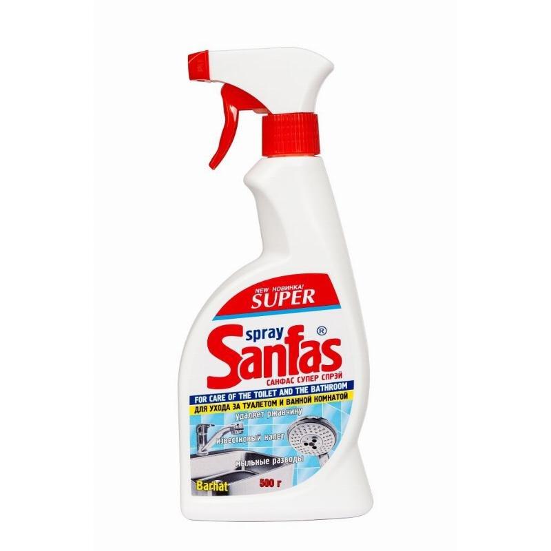 Чистящее средство для сантехники 500мл от ржавчины и известкового налета курок Бархат Super Sanfas