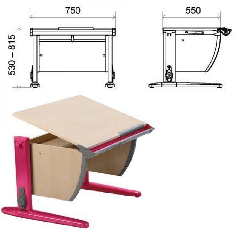 Стол парта регулируемая Дэми 750х550х530-815мм розовый метал каркас ЛДСП клен