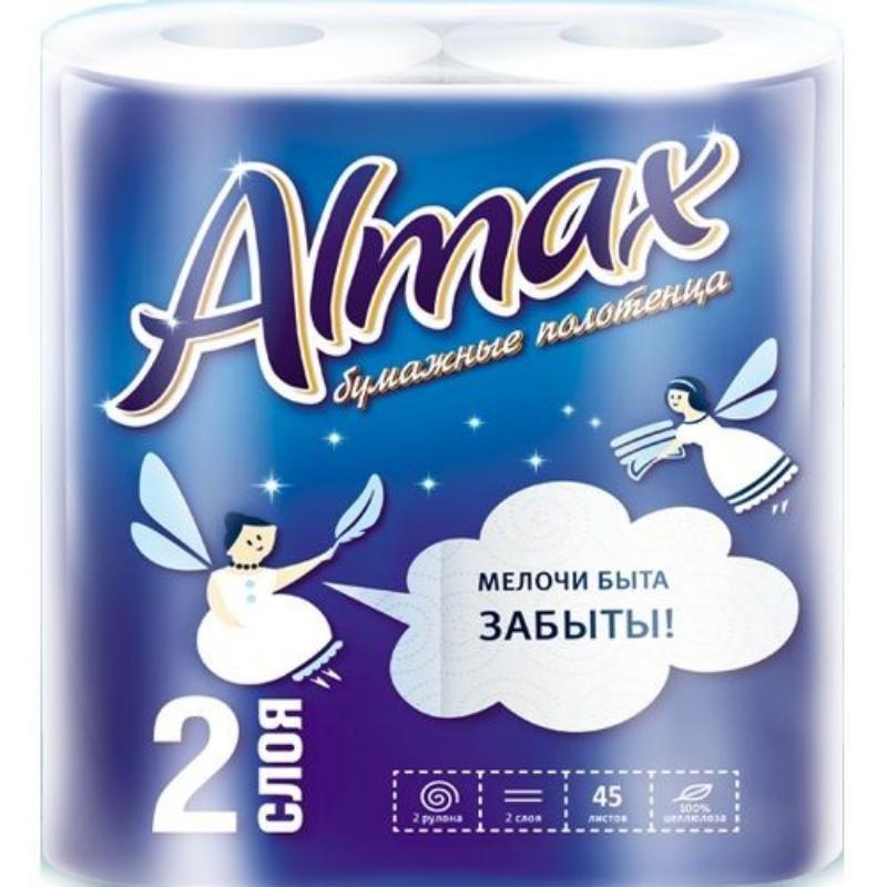 Полотенце бумажное Almax 2-сл 2рул/уп белое