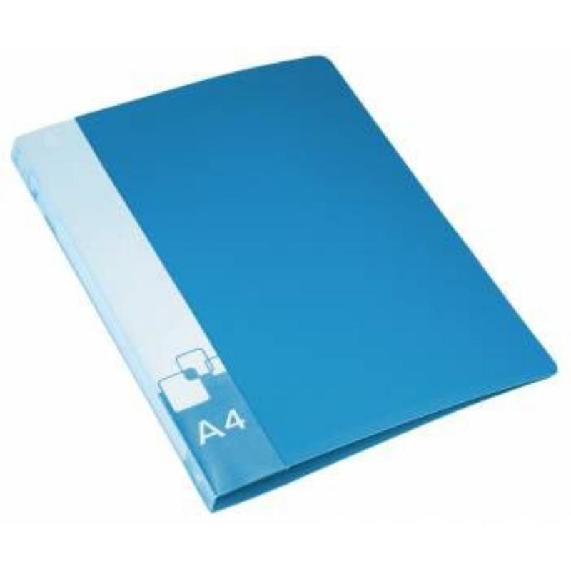 Папка на 4-х кольцах 27мм Бюрократ с карманом синяя 0,7мм