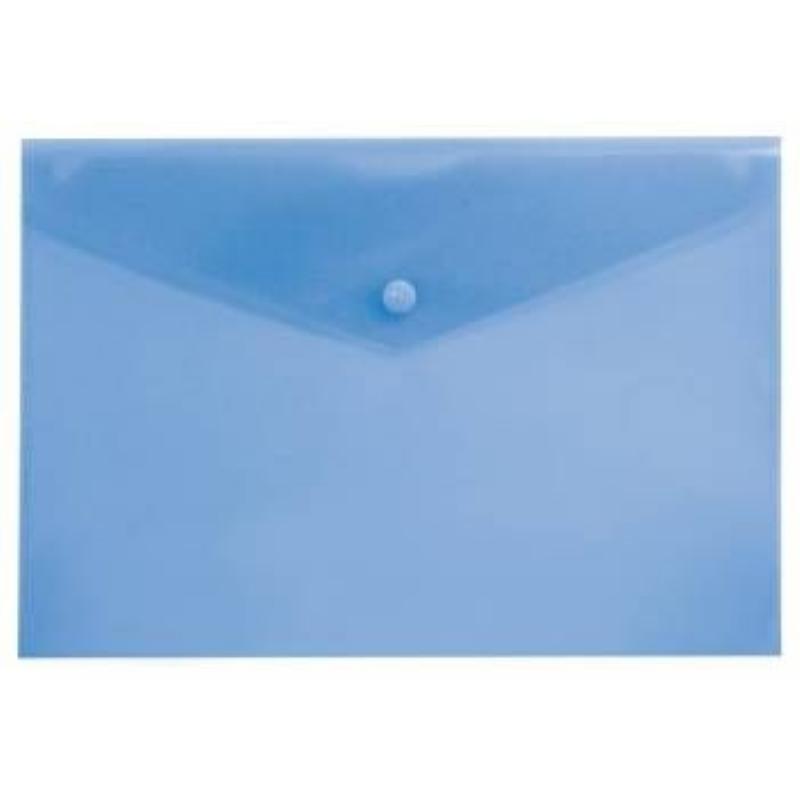 Папка-конверт с кнопкой А4 Бюрократ 0,18мм  синяя