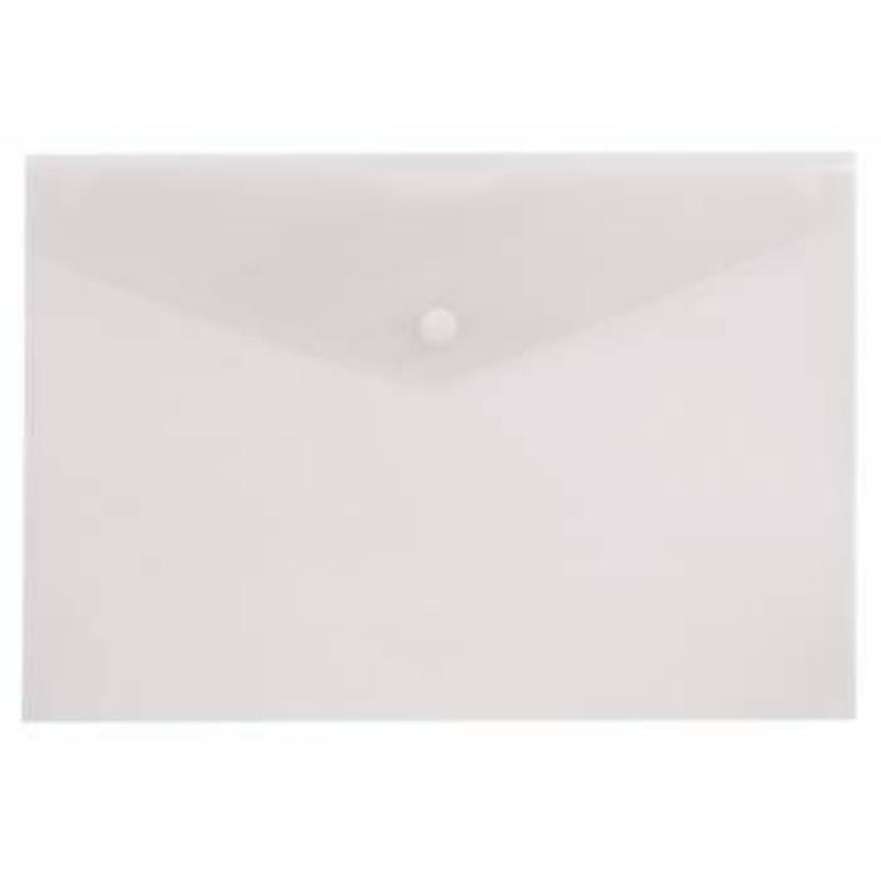 Папка-конверт с кнопкой А4 Бюрократ 0,18мм  бесцветная