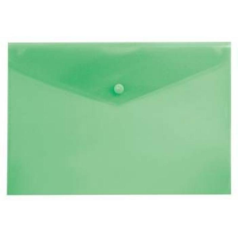 Папка-конверт с кнопкой А4 Бюрократ 0,18мм  зеленая