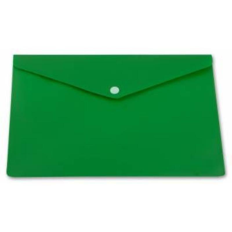 Папка-конверт с кнопкой А5 Бюрократ 0,18мм зеленая