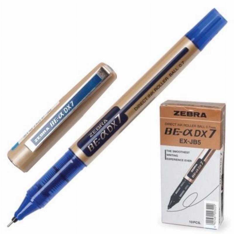 Ручка-роллер Zeb-Roller DX7 0,7мм золотистый корпус синяя