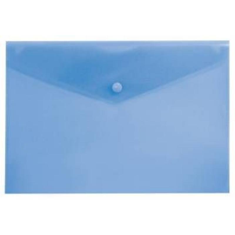 Папка-конверт с кнопкой А4 Бюрократ 0,15мм синяя