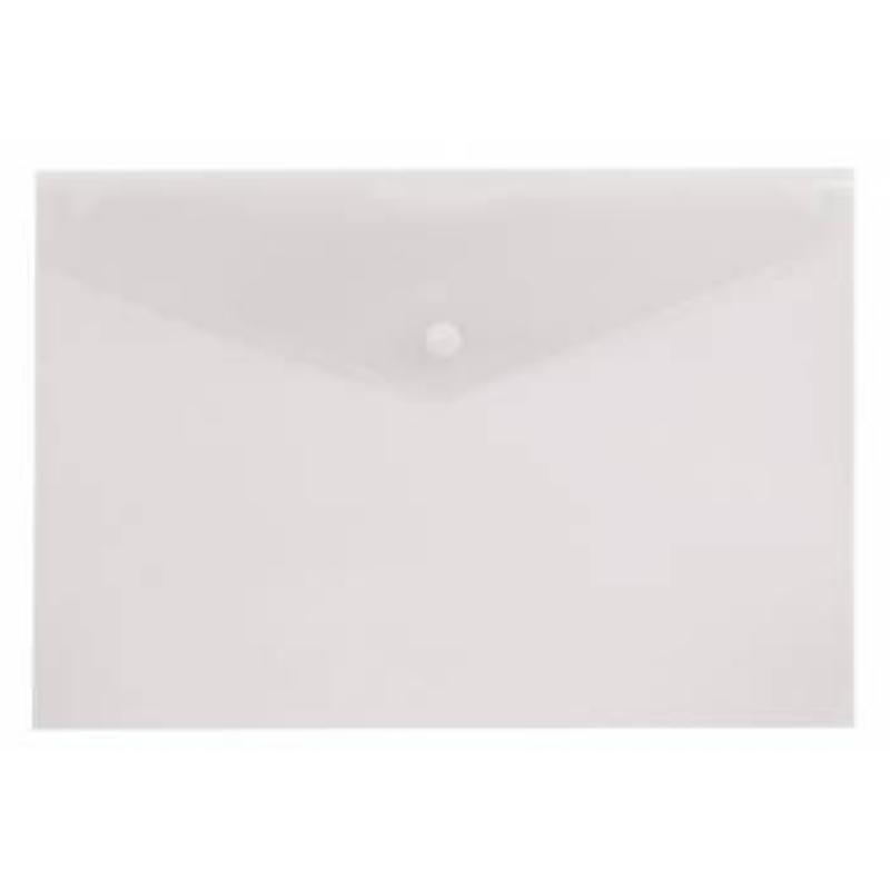 Папка-конверт с кнопкой А4 Бюрократ 0,15мм прозрачная