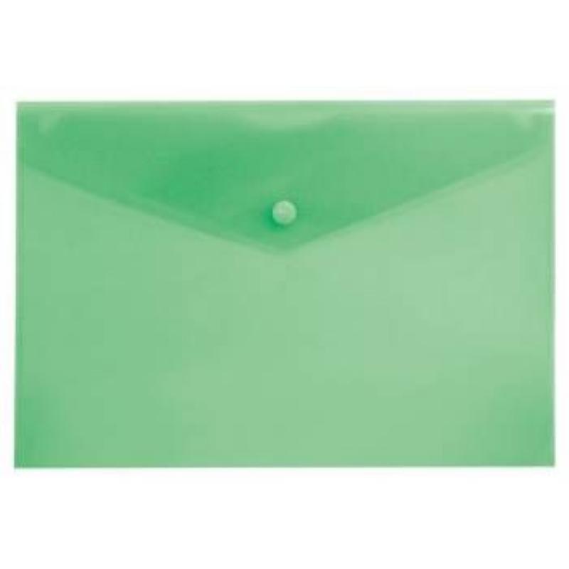 Папка-конверт с кнопкой А4 Бюрократ 0,15мм зеленая
