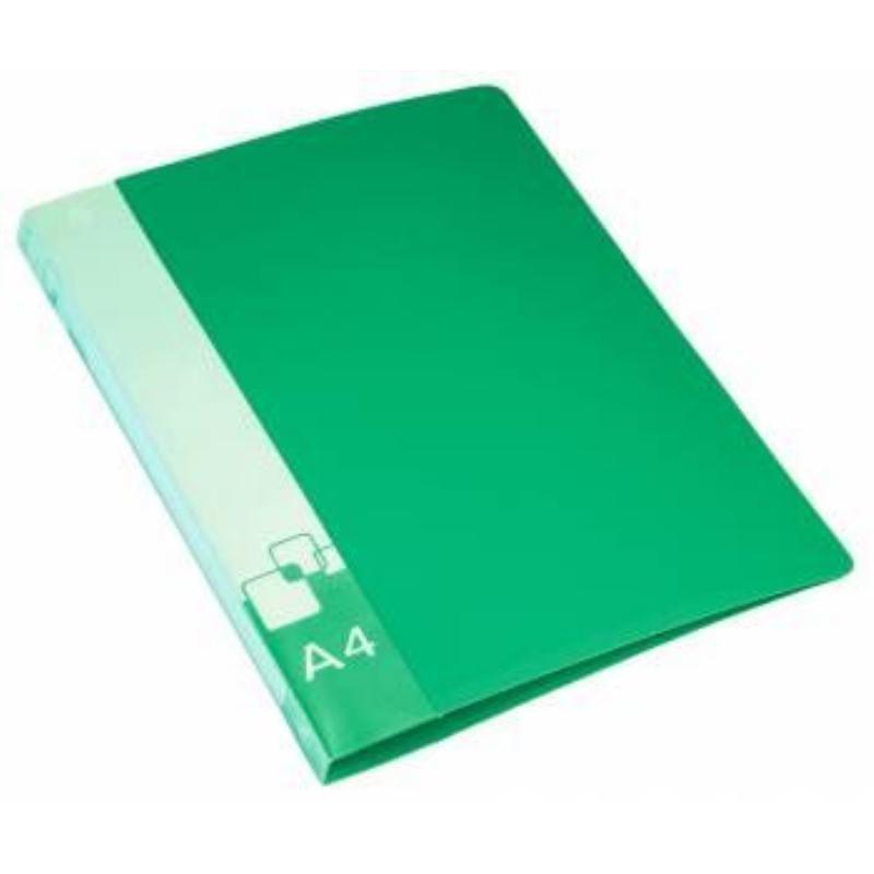 Папка на 4-х кольцах 18мм Бюрократ с карманом зеленая 0,7мм