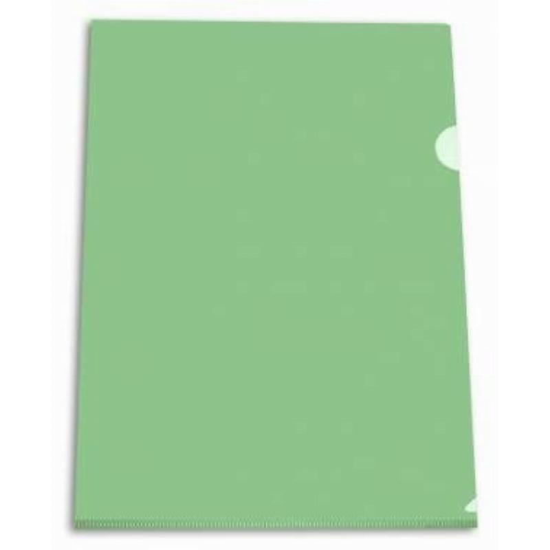 Папка-угол (карман) Бюрократ 0,15мм прозрачная зеленая