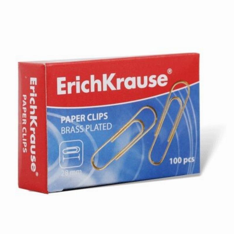 Скрепки 28мм Erich Krause 100шт/уп омедненные карт коробка