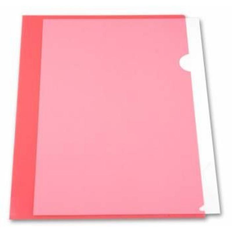 Папка-угол (карман) Бюрократ 0,15мм прозрачная красная