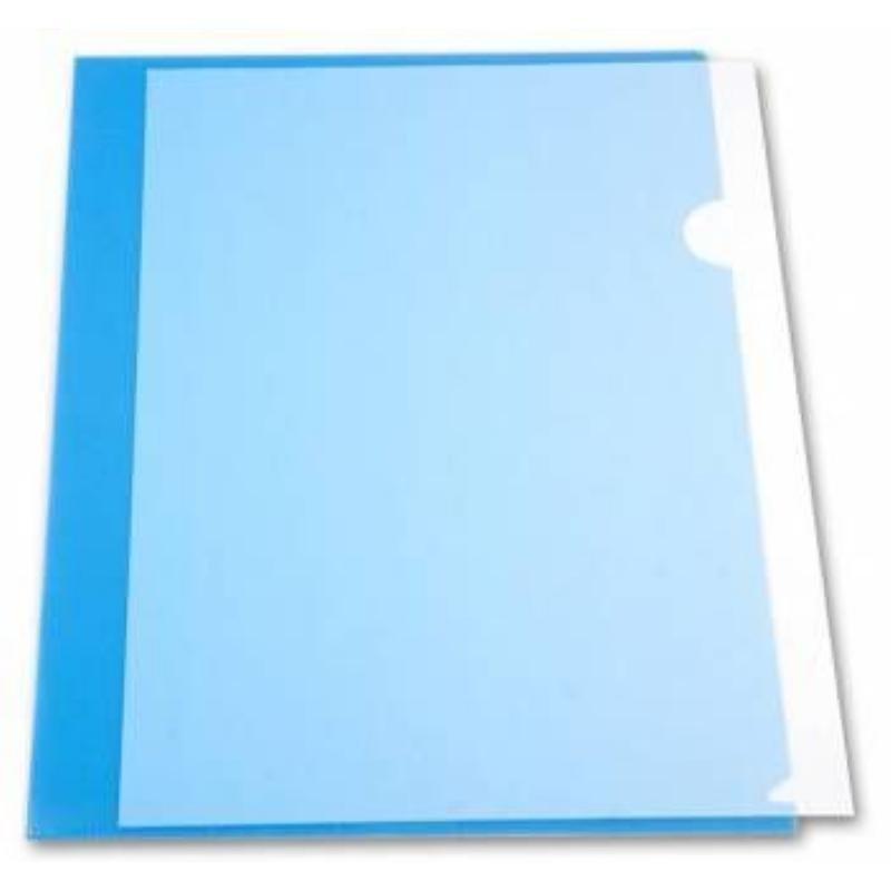 Папка-угол (карман) Бюрократ 0,18мм прозрачная синяя