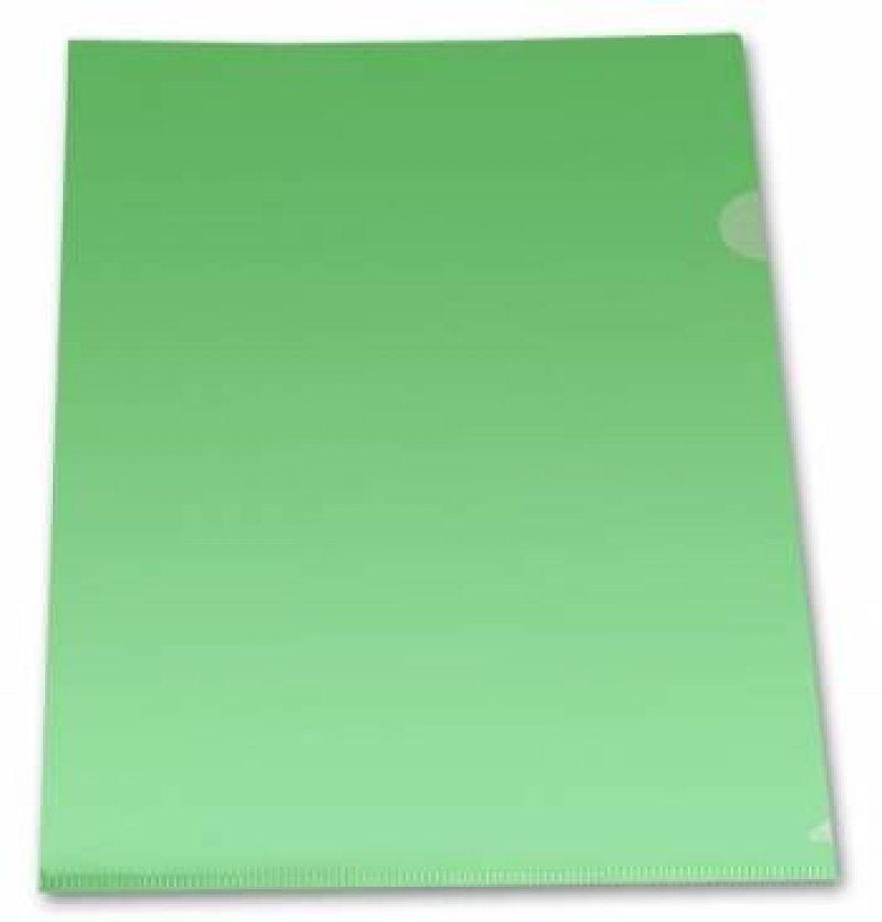 Папка-угол (карман) Бюрократ 0,18мм прозрачная зеленая