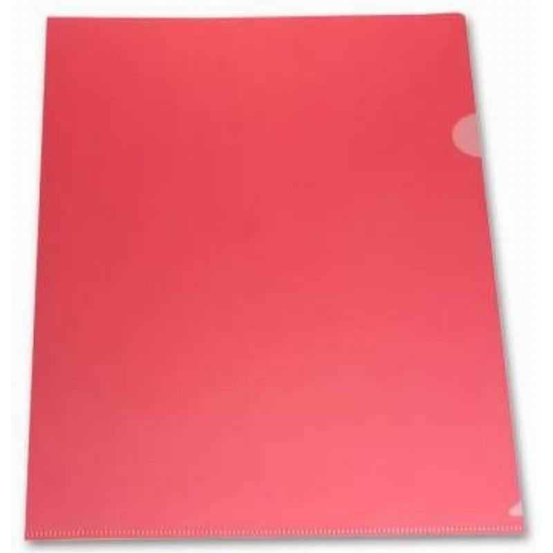 Папка-угол (карман) Бюрократ 0,18мм прозрачная красная