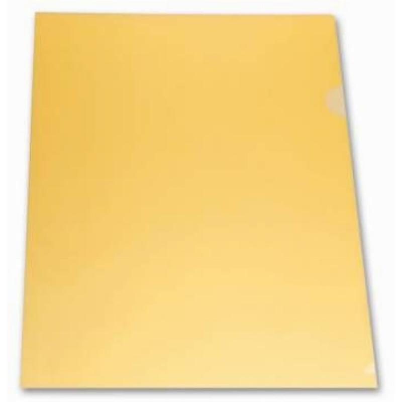 Папка-угол (карман) Бюрократ 0,18мм прозрачная желтая