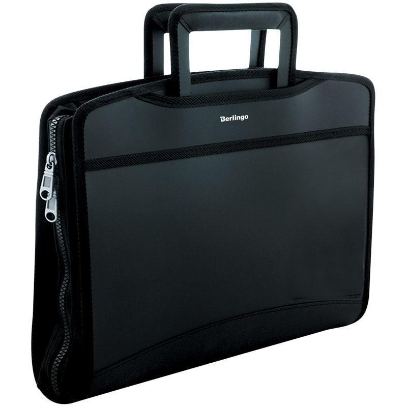 Портфель пластиковый 8-отд Berlingo Silk Touch A4 380*280*45мм 700мкм, черная