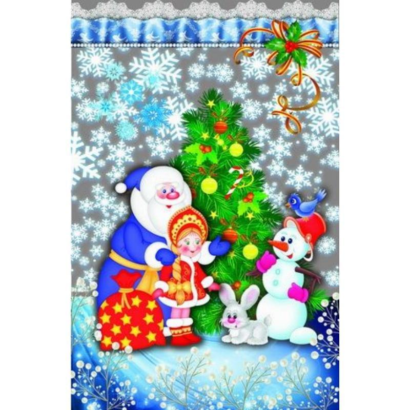 Пакет подарочный 20х30см НГ прозрачный с рис+мет Дед Мороз и девочка