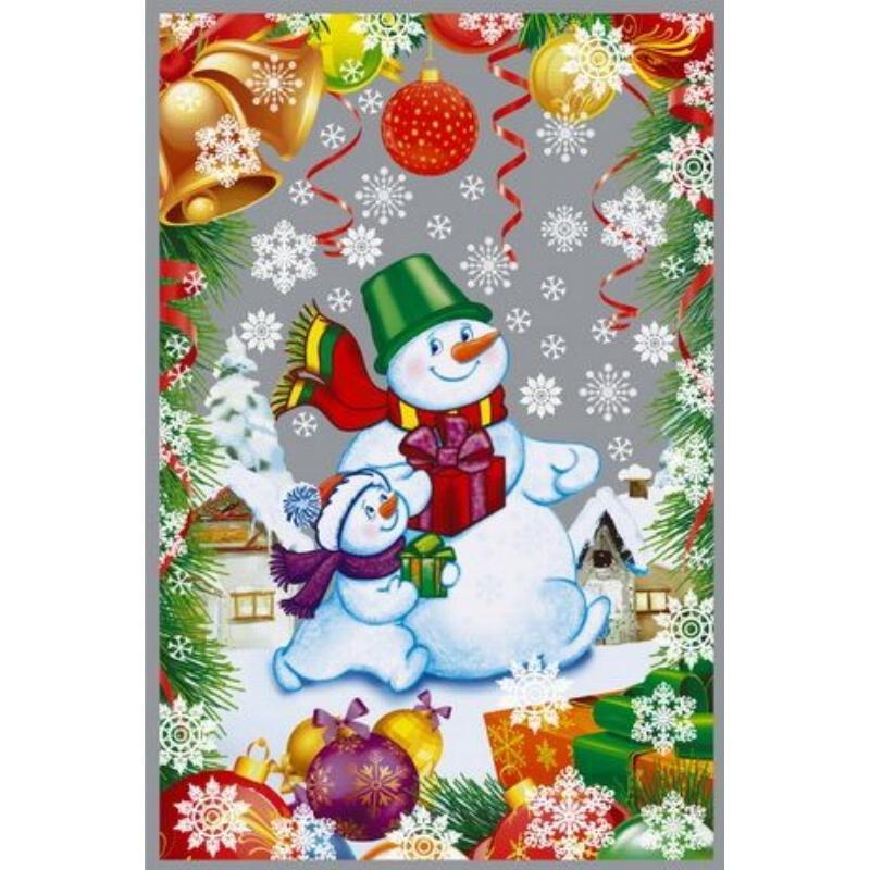 Пакет подарочный 25х40см НГ прозрачный рис+мет Дед Мороз и Снегурочка/Снеговики