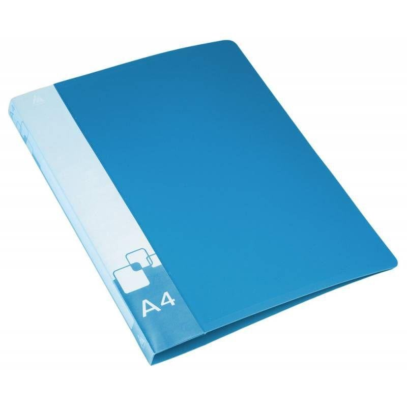 Папка на 2-х кольцах 18мм Бюрократ с карманом синяя 0,7мм