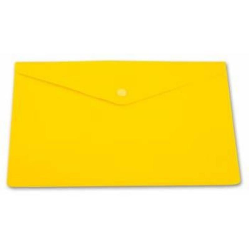 Папка-конверт с кнопкой А4 Бюрократ 0,18мм непрозрачная желтая