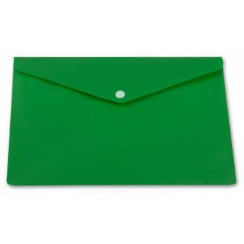 Папка-конверт с кнопкой А4 Бюрократ 0,18мм непрозрачная зеленая