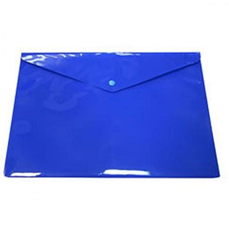 Папка-конверт с кнопкой А4 Бюрократ 0,18мм непрозрачная синяя