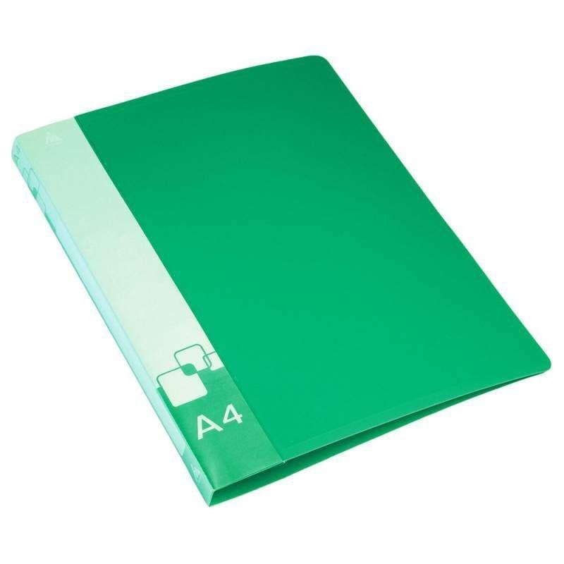 Папка на 2-х кольцах 27мм Бюрократ с карманом зеленая 0,7мм