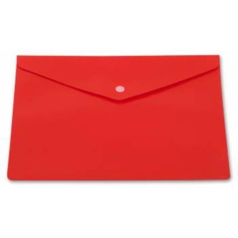 Папка-конверт с кнопкой А4 Бюрократ 0,18мм непрозрачная красная