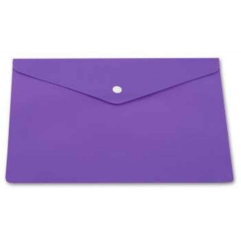 Папка-конверт с кнопкой А4 Бюрократ 0,18мм непрозрачная фиолетовая